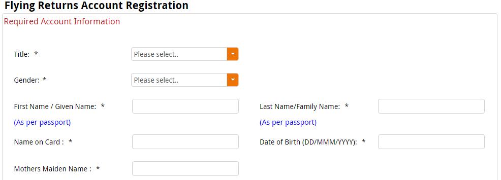 Flying Returns Programm Registration Form