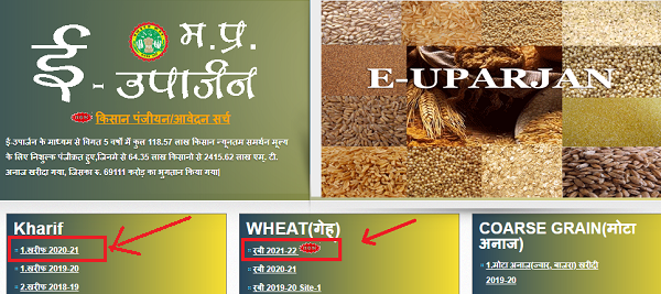Home page of E-Uparjan Portal 2021