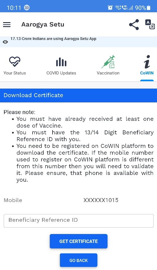 Aarogya Setu Certificate link jpg