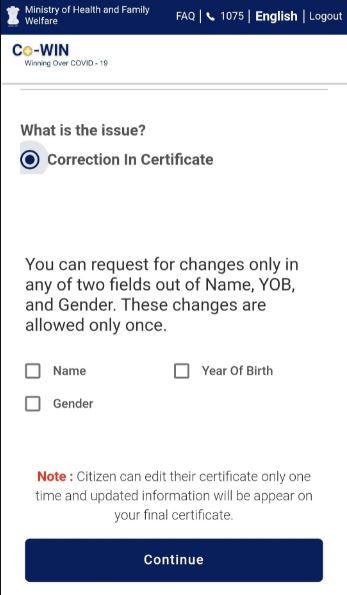 Covid Certificate Correction
