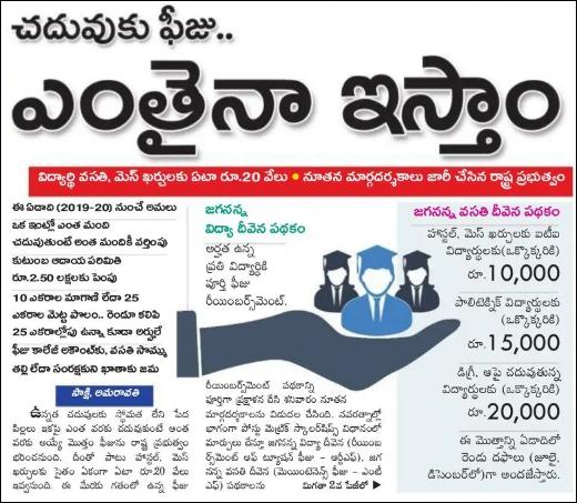 Jagananna Vasathi Deevena Payment Status