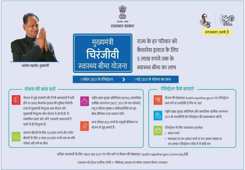 Rajasthan Chiranjeevi Bima Yojana Important Things