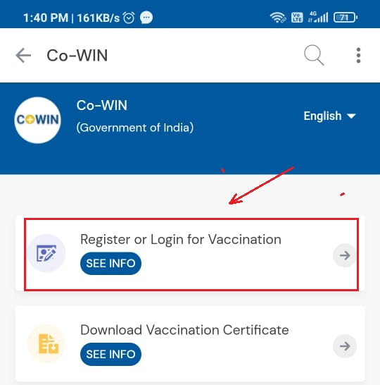 Click Register -or Login for Vaccine