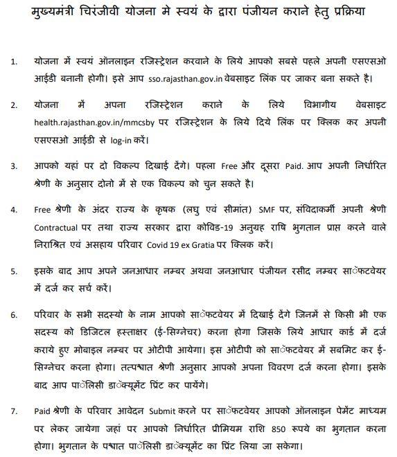 Mukhyamantri Chiranjeevi Yojana Form Process