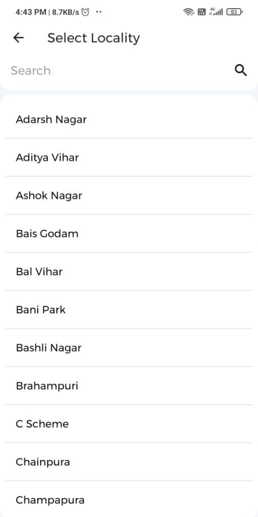 Select Locality for Country Delight Apps