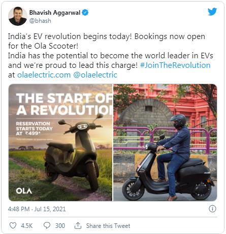 Ola Schooter Booking Tweet